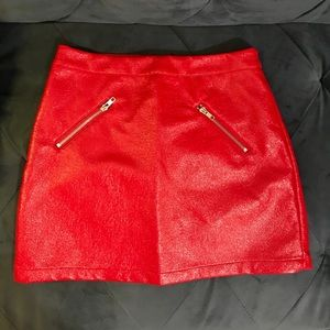 Red skirt with zipper details